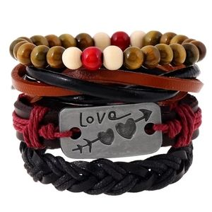 Mixed Wrap Stackable Leather Bracelet | LOVE